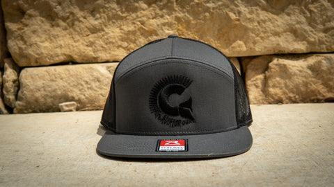 Grey 7 Panel Trucker Snap Back with Black Logo