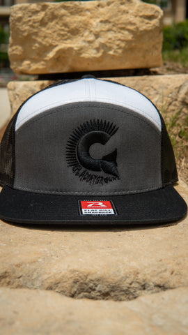 Grey and White 7 Panel Trucker Snap Back with Black Logo