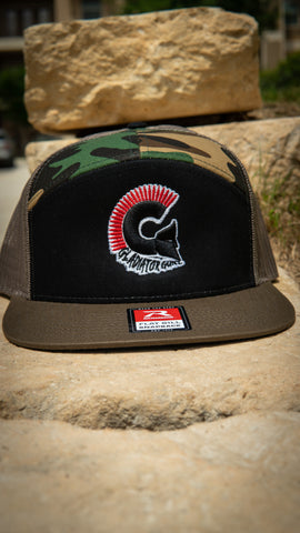 Multicam 7 Panel Trucker Snap Back with Colored Logo