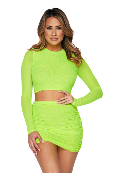 2pc Mesh L/s Crop Top/mn Skirt