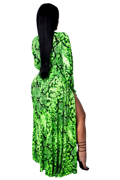 Neon Snake High Slit Dress