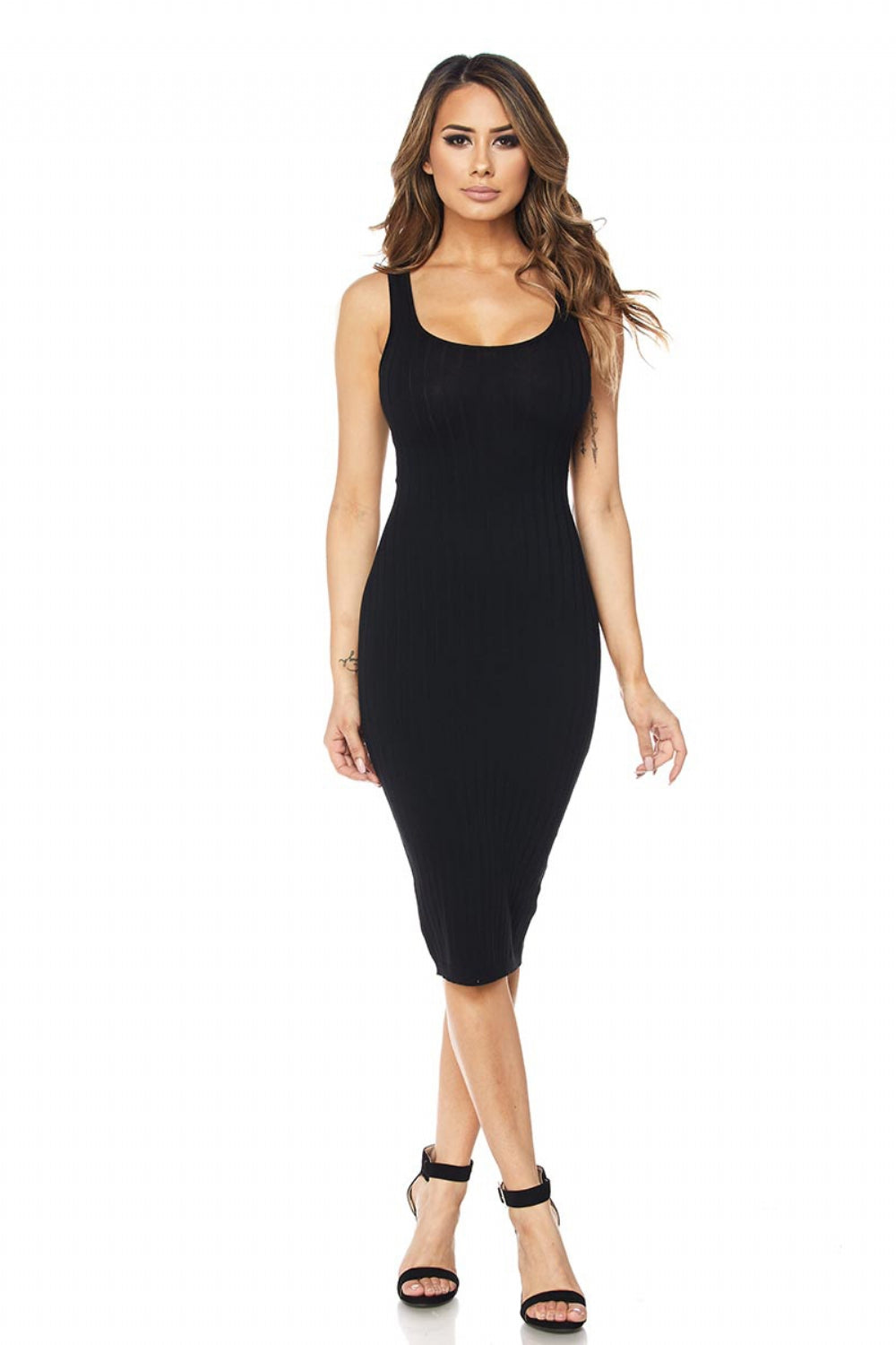 Ribbed Tank Midi Slvls Dress