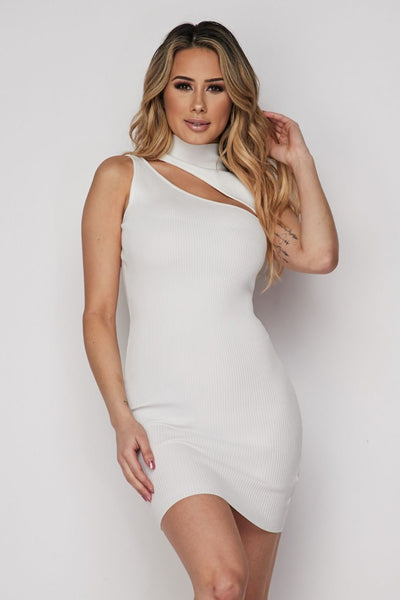 Ribbed Open Front Dress