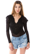 Load image into Gallery viewer, L/s Lace Trim Sheer Bodysuit