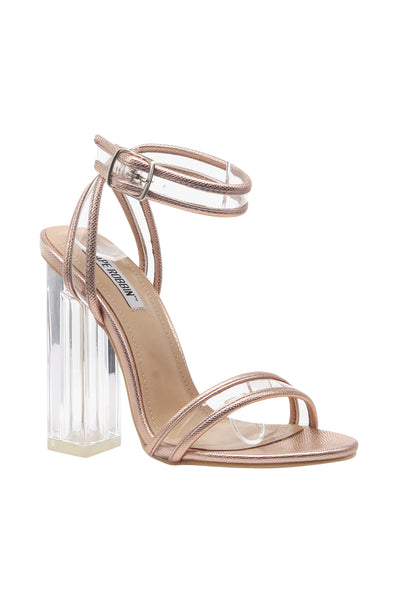 Pu Trim/clear Strap High Heels