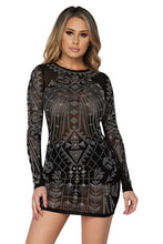 Load image into Gallery viewer, L/s Mesh Stone Mini Dress