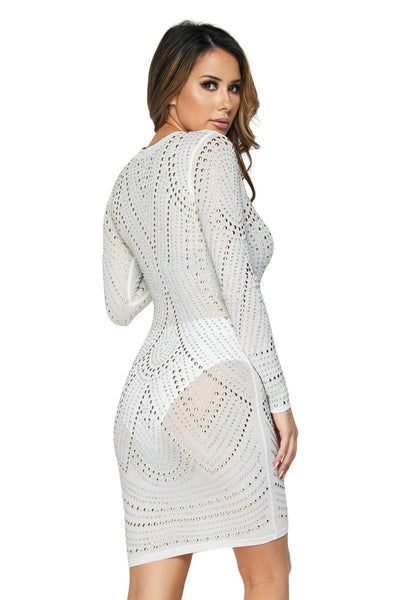 L/s Mesh Stone Allover Mini Dr