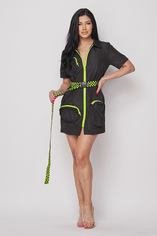 S/s Belted Loose Mini Dress
