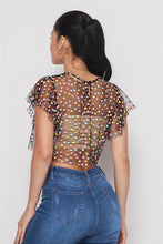 Load image into Gallery viewer, S/s Ruffle Multi Dot Sheer Top