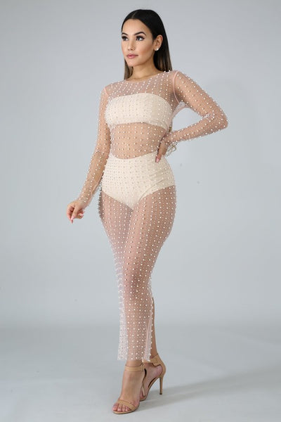 L/s Mesh Pearl Long Dress