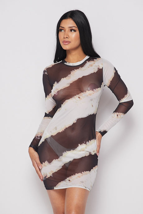Mesh L/s Printed Mini Dress
