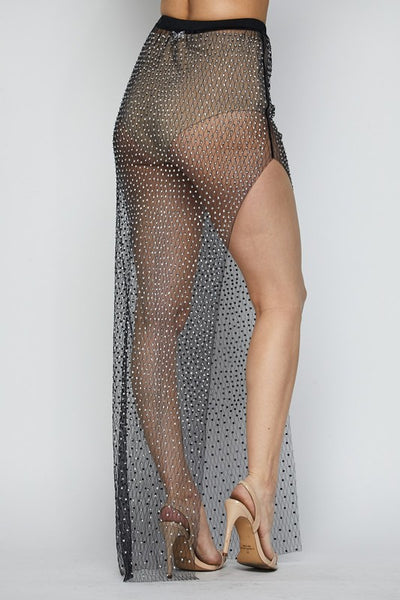 Long Studded Mesh Skirt