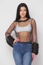 Load image into Gallery viewer, Mesh Stone Ruffle L/s Top