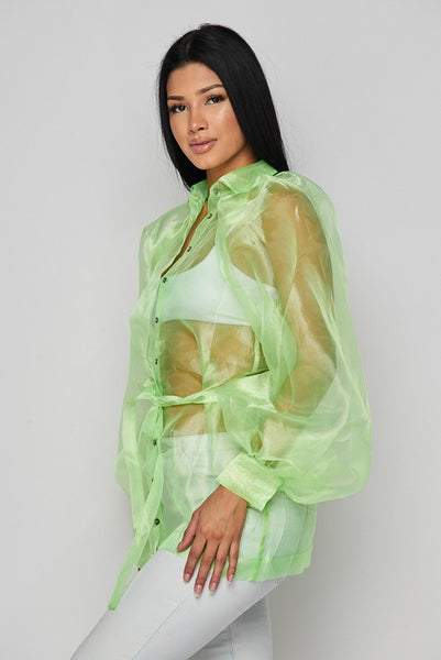 L/s Mesh Satin Belted Jacket
