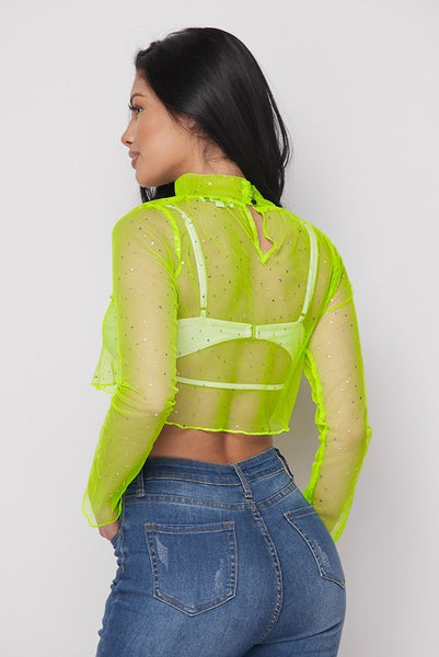 Mock Nk L/s Mesh Crop Top