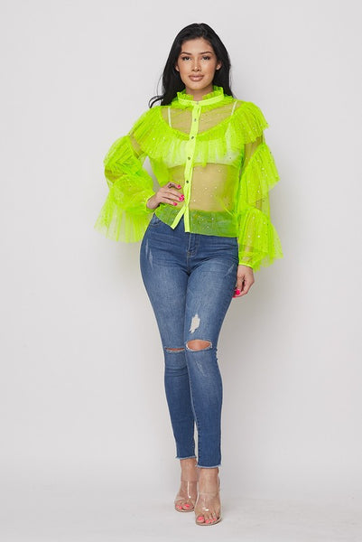 Ruffle Stone Mesh Loose Top