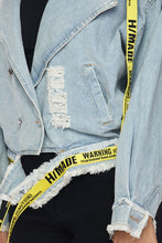 Load image into Gallery viewer, Rip Frnt Lable Trim Denim Jack