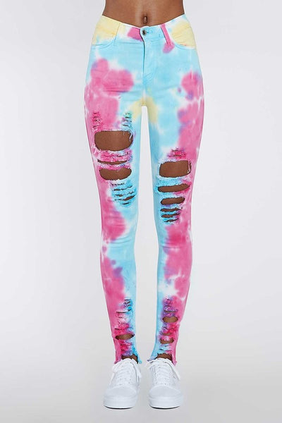 Distressed Multi Tie Die Jeans