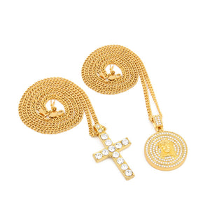 Iced Out angel & Cross Pendant 3mm Cuban Chain Set