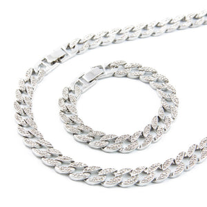 Silver Iced Out Cuban Link Chain