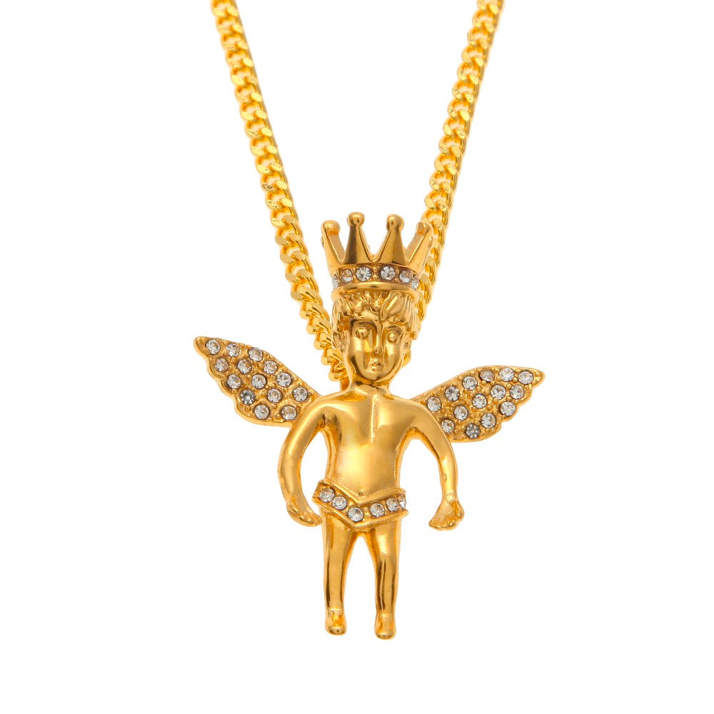 Gold iced out crown angel baby pendants chain icytrends gold iced out crown angel baby pendants chain aloadofball Choice Image