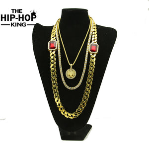 Iced Out Gold Miami Cuban Link Red Rhinestone Chain Combo Set