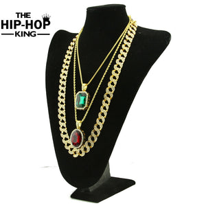 Iced out Gold Full Stone Miami Cuban Chain Bundle Set