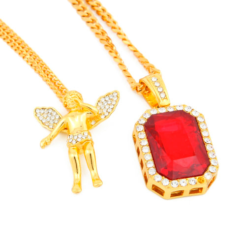 Gold Iced Out Praying Hands & Red Octagon Pendant 3mm Cuban Chain Set