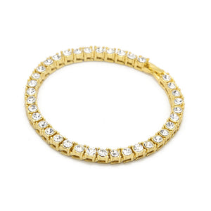 *FREE* 5mm Iced Out CZ Tennis Bracelet Gold/Black