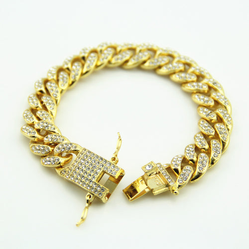 Gold Fully Iced Out luxury Miami Cuban bracelet