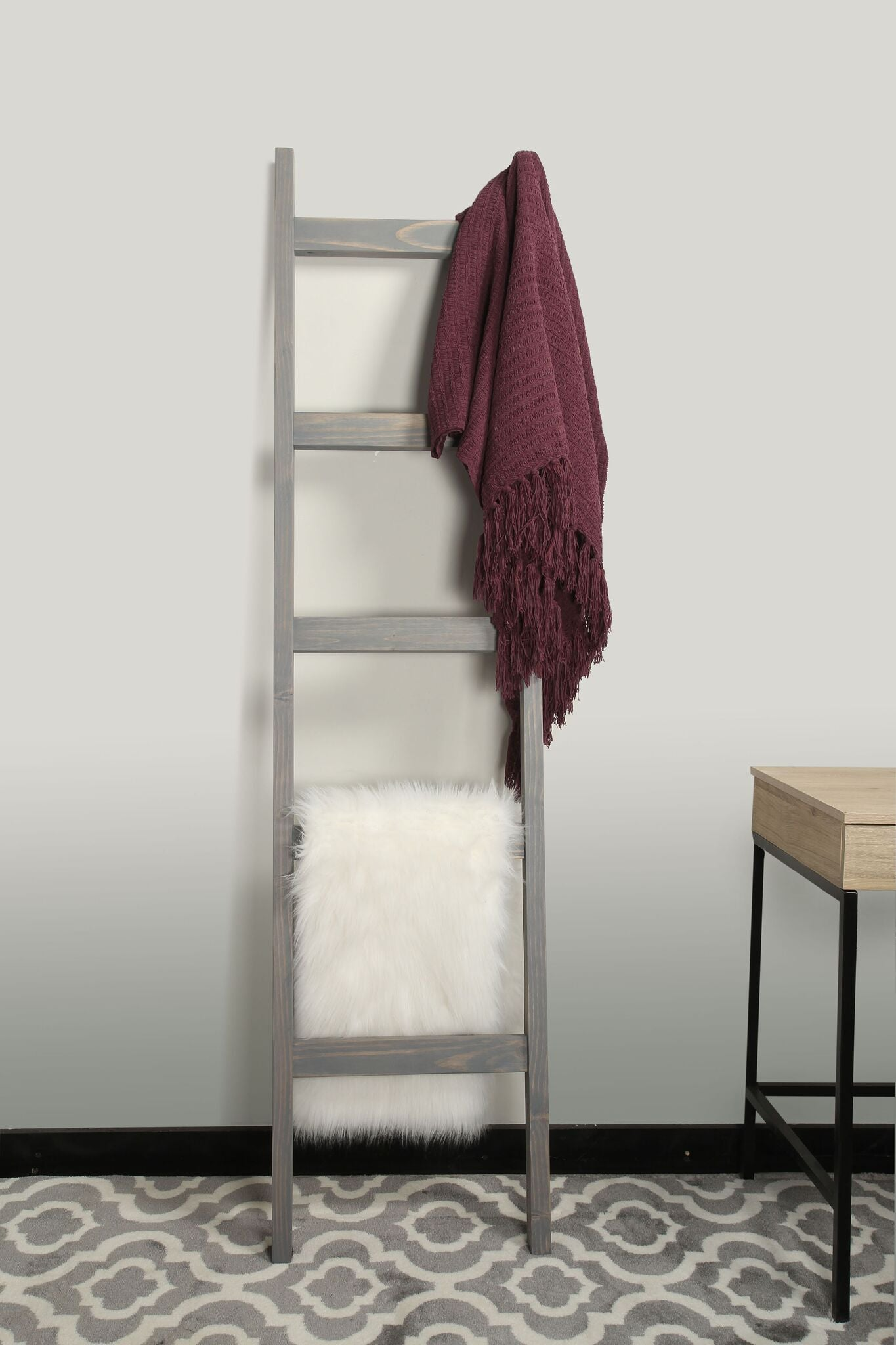 Leaning Gray Wood Ladder (6 ft)