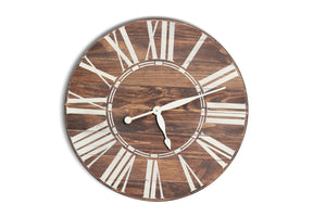 Farmhouse Walnut Wall Clock with White Roman Numerals