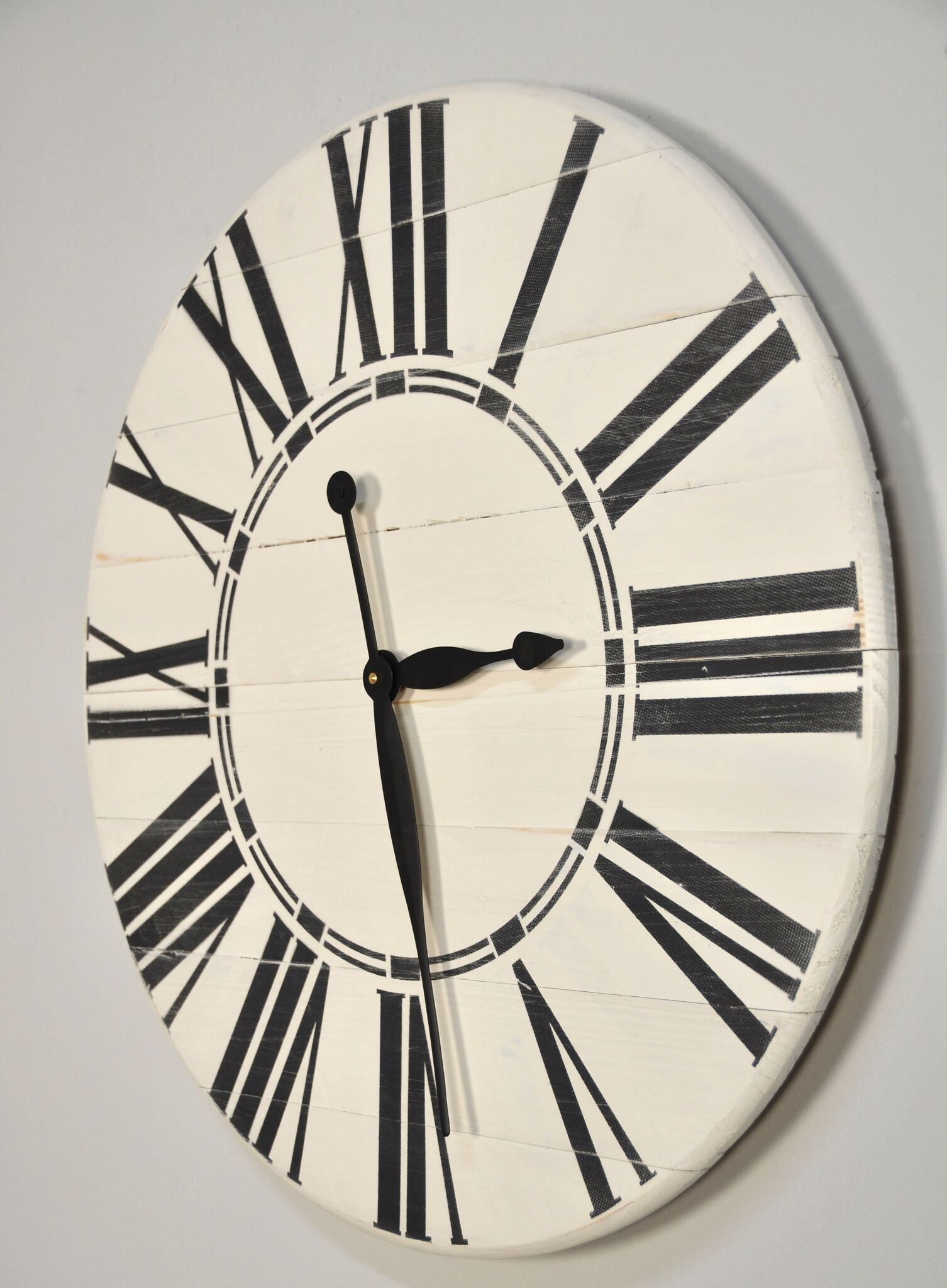 Oversized Antique White Rustic Clock - Farmhouse Wall Clock