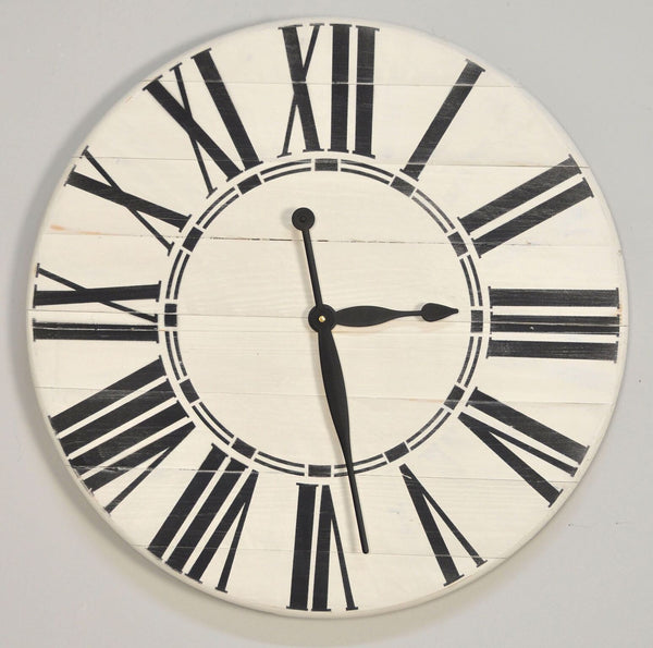 White Rustic Wall Clock with Black Roman Numerals