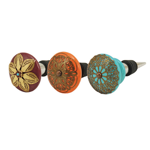 3 indian wine bottle stoppers - yellow, orange and turquoise