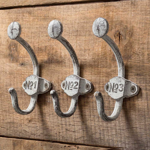 Vintage Numbered Wall Hooks (Set of 3)