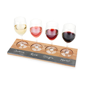 wine flight holder with soapstone slate