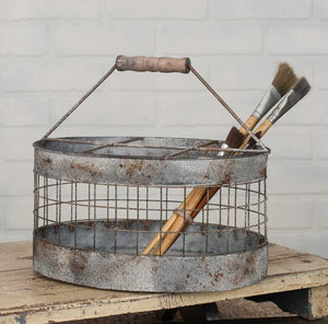 Metal milk crate with vintage wooden handle