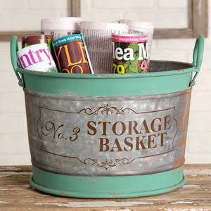 decorative tin bucket for storage