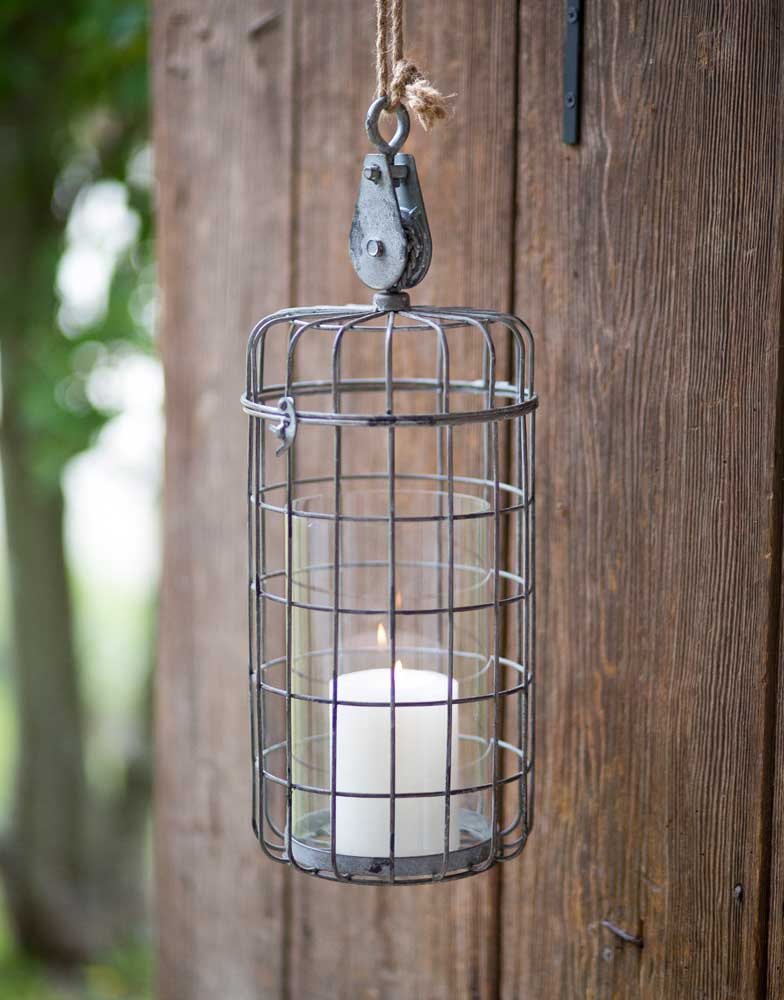 Small Hanging Candle Holder with Rustic Cage & Pulley