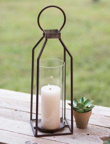 Antique Large Pillar Candle Lantern