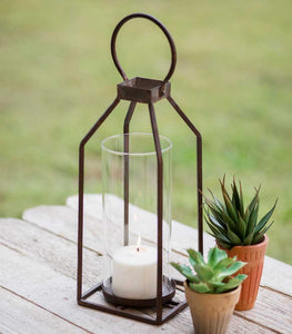 Antique Small Pillar Candle Lantern