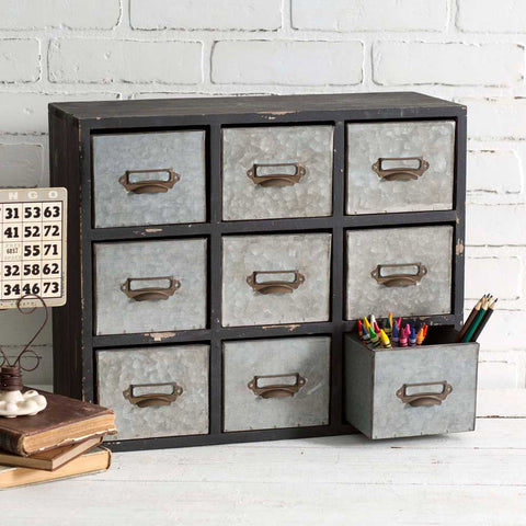 Metal cabinet organizer with 12 drawers included