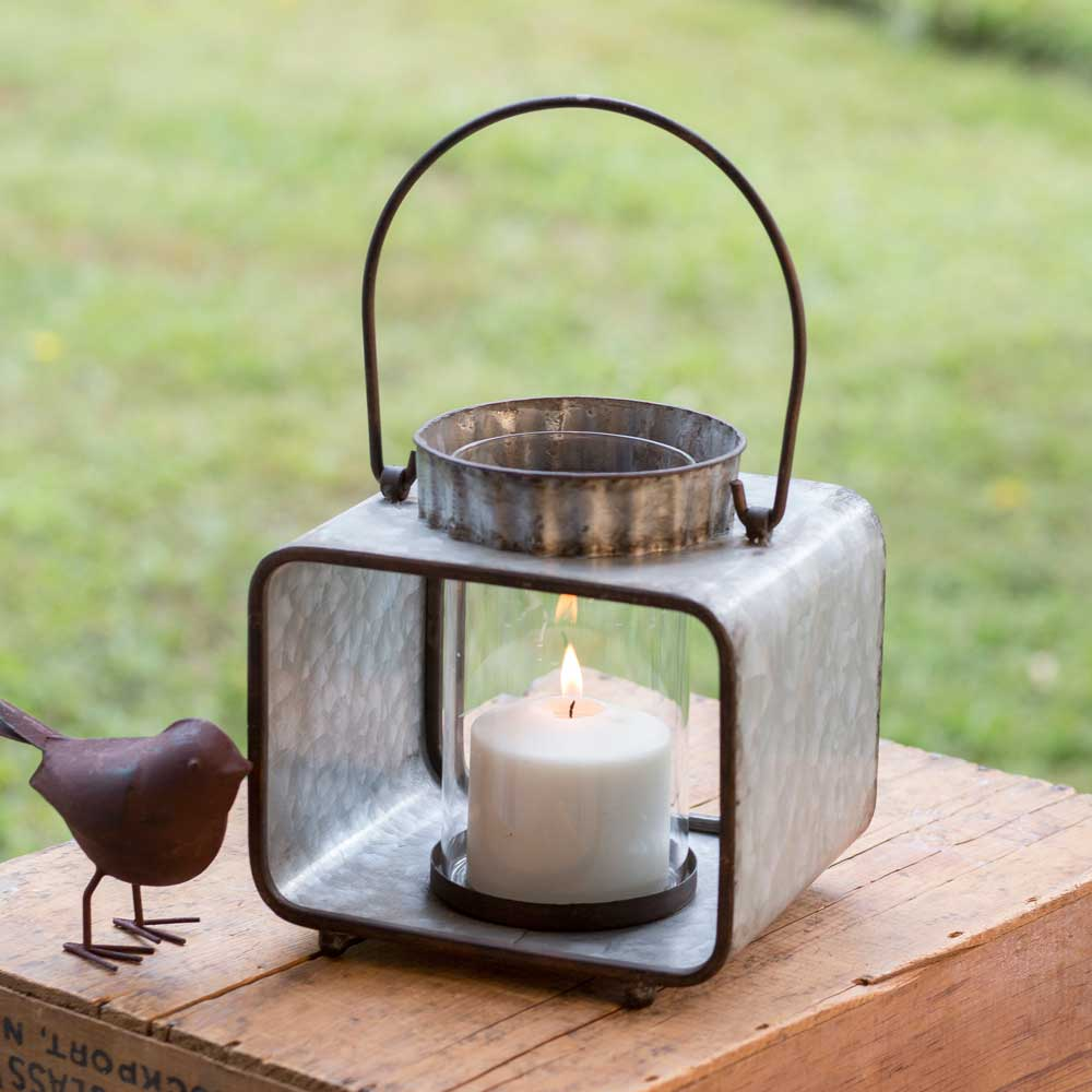 Small Tin Candle Lantern with Glass Container & Hanging Handle