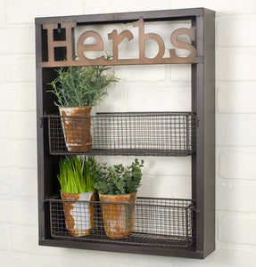 "3 Shelf Herb Planter with ""herbs"" farmhouse sign"