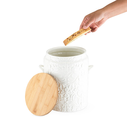 Textured Ceramic Cookie Jar: White with Flower Design