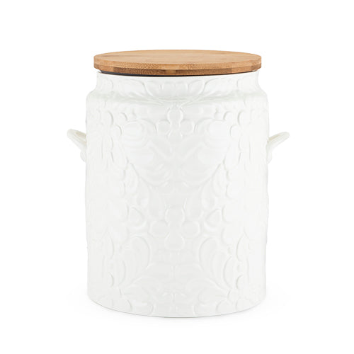 white ceramic cookie jar for your kitchen baked goods