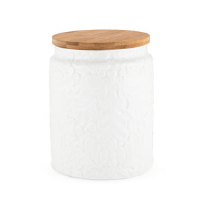 Kitchen Organizer: Medium Canister Ceramic & Textured Petals