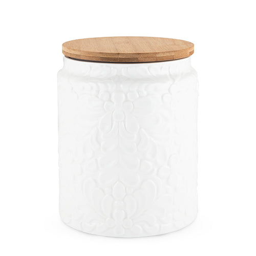 Off white kitchen large canister ceramic with wooden lid
