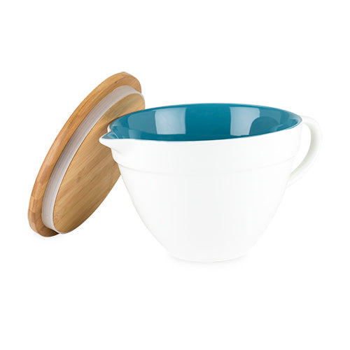 Ceramic Batter Bowl with Lid and blue inner covering